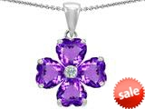 Celtic Love by Kelly™ 6mm Heart Shape Simulated Amethyst Lucky Clover Pendant style: 308996