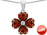 Celtic Love by Kelly™ 6mm Heart Shape Simulated Garnet Lucky Clover Pendant style: 308997