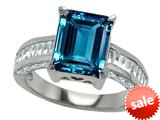 Original Star K™ 10x8mm Emerald Cut Simulated Blue Topaz Engagement Ring style: 309000