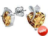 Original Star K™ 8mm Heart Shape Simulated Imperial Yellow Topaz Heart Earrings style: 309002