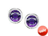 Original Star K™ Bezel Set Round 5mm Simulated Amethyst Earrings Studs style: 309013