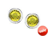 Original Star K™ Bezel Set Round 5mm Simulated Citrine Earrings Studs style: 309017