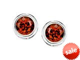 Original Star K™ Bezel Set Round 5mm Simulated Garnet Earrings Studs style: 309020