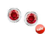 Original Star K™ Bezel Set Round 5mm Created Ruby Earrings Studs style: 309022