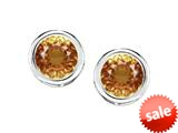 Original Star K™ Bezel Set Round 5mm Simulated Imperial Yellow Topaz Earrings Studs style: 309023
