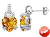 Original Star K™ Heart Shape Simulated Imperial Yellow Topaz Designer Hanging Drop Earrings style: 309030
