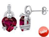 Original Star K™ Heart Shape Created Ruby Designer Hanging Drop Earrings style: 309033