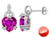 Original Star K™ Heart Shape Created Pink Sapphire Designer Hanging Drop Earrings style: 309034