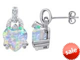 Original Star K™ Heart Shape Simulated Opal Designer Hanging Drop Earrings style: 309035