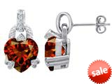 Original Star K™ Heart Shape Simulated Garnet Designer Hanging Drop Earrings style: 309037