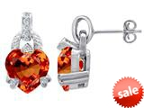 Original Star K™ Heart Shape Simulated Orange Mexican Fire Opal Designer Hanging Drop Earrings style: 309038