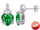Original Star K™ Heart Shape Simulated Emerald Designer Hanging Drop Earrings style: 309039