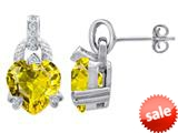 Original Star K™ Heart Shape Simulated Citrine Designer Hanging Drop Earrings style: 309040