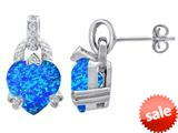 Original Star K™ Heart Shape Simulated Blue Opal Designer Hanging Drop Earrings style: 309041