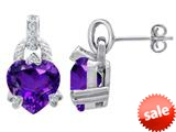 Original Star K™ Heart Shape Simulated Amethyst Designer Hanging Drop Earrings style: 309043