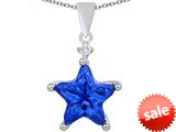 Original Star K™ Large 14mm Fancy Star Pendant with Simulated Sapphire style: 309046