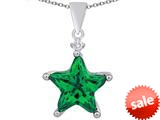 Original Star K™ Large 14mm Fancy Star Pendant with Simulated Emerald style: 309049