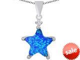 Original Star K™ Large 14mm Fancy Star Pendant with Created Blue Opal style: 309058