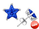 Original Star K™ Fancy Star Cut Earrings Studs with Simulated Sapphire style: 309059