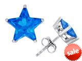 Original Star K™ Fancy Star Cut Earrings Studs with Simulated Blue Topaz style: 309060