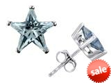 Original Star K™ Fancy Star Cut Earrings Studs with Simulated Aquamarine style: 309061