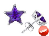 Original Star K™ Fancy Star Cut Earrings Studs with Simulated Amethyst style: 309062