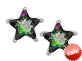Original Star K™ Fancy Star Cut Earrings Studs with Rainbow Mystic Topaz style: 309063