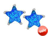 Original Star K™ Fancy Star Cut Earrings Studs with Created Blue Opal style: 309067