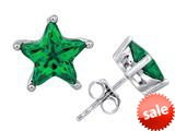 Original Star K™ Fancy Star Cut Earrings Studs with Simulated Emerald style: 309069