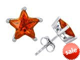 Original Star K™ Fancy Star Cut Earrings Studs with Simulated Orange Mexican Fire Opal style: 309070