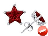 Original Star K™ Fancy Star Cut Earrings Studs with Simulated Garnet style: 309071
