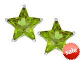 Original Star K™ Fancy Star Cut Earrings Studs with Simulated Peridot style: 309072