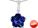 Original Star K™ Large 14mm Flower Shape Star Pendant with Simulated Sapphire style: 309075