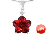 Original Star K™ Large 14mm Flower Shape Star Pendant with Simulated Garnet style: 309076