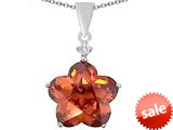 Original Star K™ Large 14mm Flower Shape Star Pendant with Simulated Orange Mexican Fire Opal style: 309077