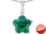 Original Star K™ Large 14mm Flower Shape Star Pendant with Simulated Emerald style: 309078