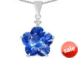 Original Star K™ Large 14mm Flower Shape Star Pendant with Simulated Blue Topaz style: 309080