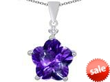 Original Star K™ Large 14mm Flower Shape Star Pendant with Simulated Amethyst style: 309081