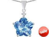 Original Star K™ Large 14mm Flower Shape Star Pendant with Simulated Aquamarine style: 309082