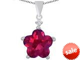 Original Star K™ Large 14mm Flower Shape Star Pendant with Created Ruby style: 309083