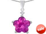 Original Star K™ Large 14mm Flower Shape Star Pendant with Created Pink Sapphire style: 309084