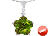 Original Star K™ Large 14mm Flower Shape Star Pendant with Simulated Peridot style: 309085