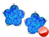 Star K™ Fancy Flower Shape Star Earrings Studs with Simulated Blue Opal style: 309087