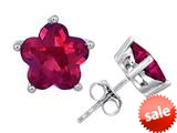 Original Star K™ Fancy Flower Shape Star Earrings Studs with Created Ruby style: 309089
