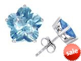 Original Star K™ Fancy Flower Shape Star Earrings Studs with Simulated Aquamarine style: 309092