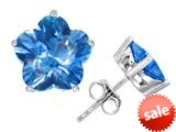 Original Star K™ Fancy Flower Shape Star Earrings Studs with Simulated Blue Topaz style: 309093