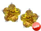 Original Star K™ Fancy Flower Shape Star Earrings Studs with Simulated Citrine style: 309094