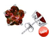 Original Star K™ Fancy Flower Shape Star Earrings Studs with Simulated Garnet style: 309097