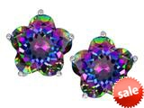 Original Star K™ Fancy Flower Shape Star Earrings Studs with Rainbow Mystic Topaz style: 309098