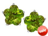 Original Star K™ Fancy Flower Shape Star Earrings Studs with Simulated Peridot style: 309100